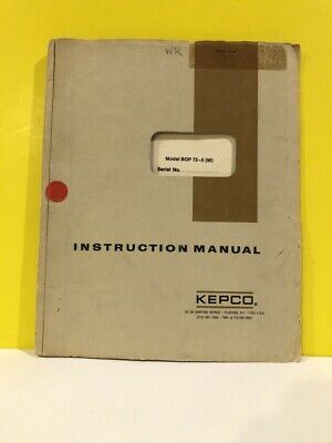 Kepco Model Bop 72-5 M Power Supply Instruction Manual