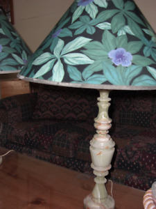Green Marble Lamps x2