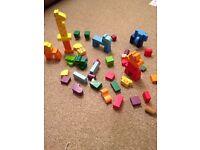 Wooden animal building blocks