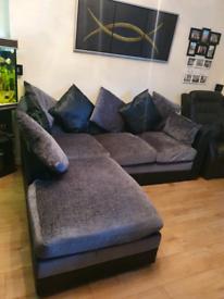Corner sofa silver/bkack