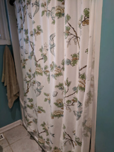 Shower curtain and matching towels, plus three pictures