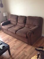Brown microfibre sofa from clean home