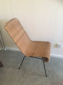 Vintage wicker and steel chair