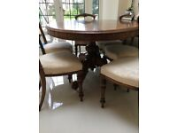 Stunning Victorian walnut table and chairs