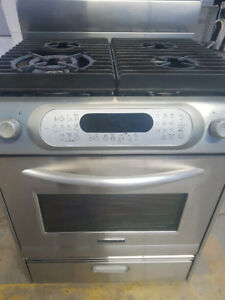 Stainless Steel Fridge and Gas Range both 30 Inches wide