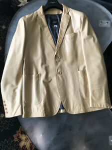 Men's Costume National Leather blazer in taupe/light yellow