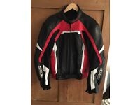 Men's SPADA Leather Jacket Red, Black & White Size 42 (Large)