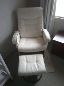 *Sold pending pick-up / White glider nursing chair with ottoman