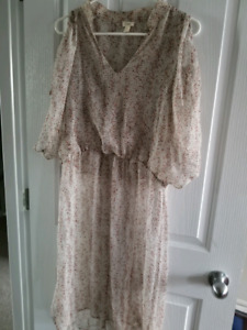 Light chiffon floral grid dress!