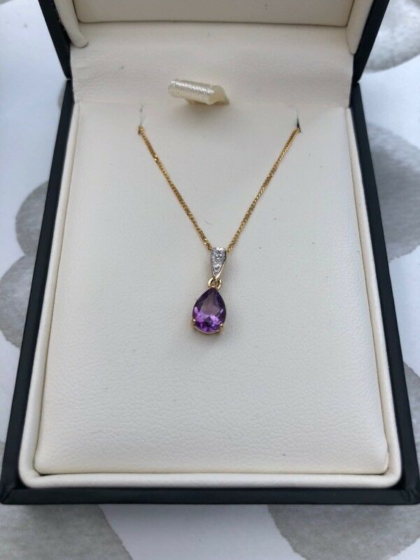 9ct gold amethyst necklace & earrings set - Brand new