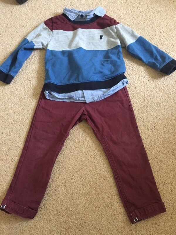 JUNIOR J CHINOS AND JUMPER - AGE 2-3