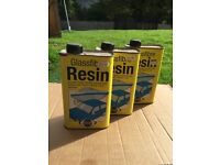 Glass fibre resin 3 X 1 litre. Reduced to clear!