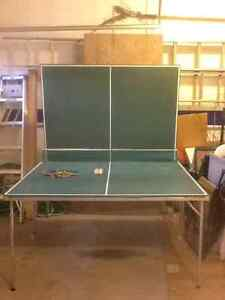 Ping pong table (full size, fold up table on wheels)