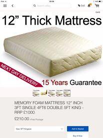 """King size 12"""" thick memory foam mattress (new)"""