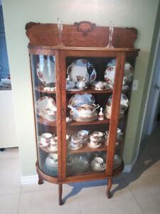 Vaissellier Antique Chêne Maille Antique China Cabinet Tiger Oak