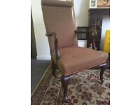 Antique brown fabric chair