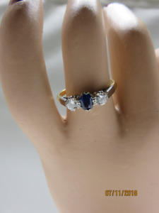 Sapphire and Diamond Ring....Ladies sz 8