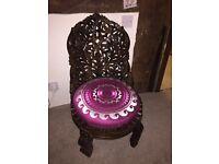 Indian wood carved burgundy pink cushion dark wooden