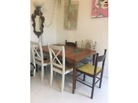EXTENDABLE HAND PAINTED WOODEN DINING TABLE