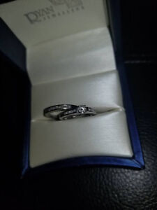 14k WG Engagment Ring & Wedding Band Set