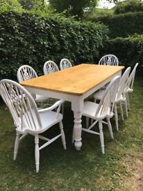 Large farmhouse table and 8 chairs