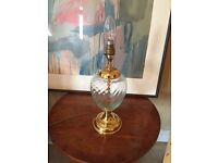 Glass and gold brass table lamp