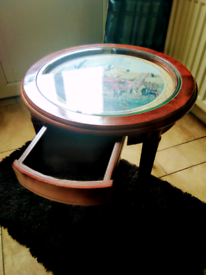 TABLE BY MICHAEL HERRING, WITH GLASS TOP