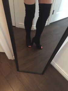 NEW BLACK  THIGH HIGH FAUX SUEDE BOOTS OPEN TOE SIZE 7.5/ 8