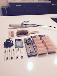 Hair supplies, Curling Iron, Natural Wooden Brush, Comb etc