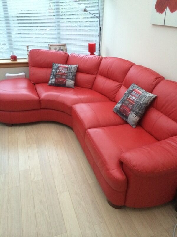 Red Leather Corner Couch United Kingdom Gumtree