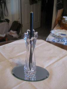 OLD VINTAGE PETITE CLEAR-GLASS FLUTED VASE with ADDED TREASURE