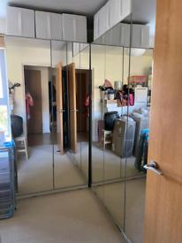 Ikea pax mirrorred double wardrobes x 2 , 200cmH x 100cmW x 58cm Deep