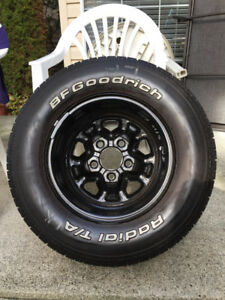Snow tires on rims, set of four