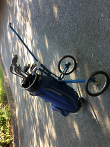 Ladies Taylor made golf clubs, cart, bag for sale