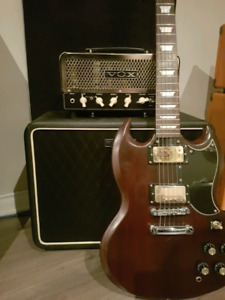 vox night train 15w with cab and epiphone sg