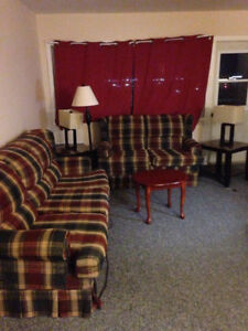 Free couch set plus end tables and lamps