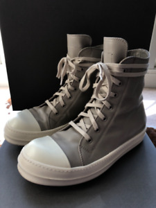 Rick Owens Beige and White High Top Leather Sneakers