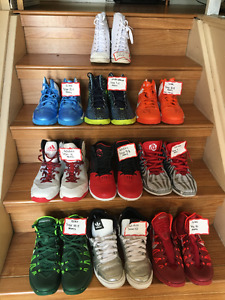 9 Pairs of Basketball Shoes - Worn Very Little - Sizes Vary