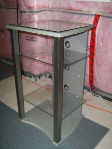 Beautiful open concept audio rack with glass shelves excellent