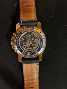 Men's Rose Gold & Blue Automatic  Skeleton Fossil Watch