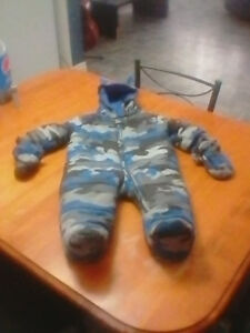 9-12mth blue camp 1pc snowsuit with attachable mitts