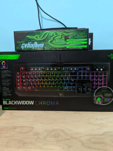 Razer Blackwidow Chroma Key board and Razer Mouse Pad