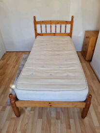 Pine framed single bed and mattress £90
