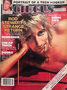 Rod Stewart Signed Circus Magazine with proof of Authenticity.