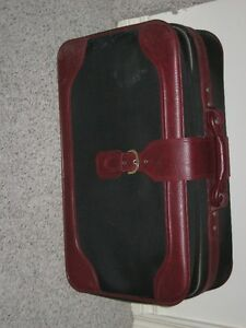 "older style suitcase, 24""long, 16"" high,burgandy& black-"