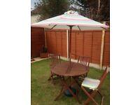 3 seat garden furniture with parasol