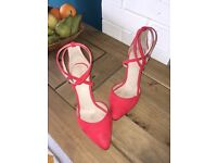 Next Red Suede Ankle Strap Sandals 4.5