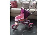 Dolls 3-wheel stroller