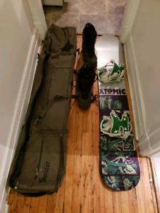 Snowboard Atomic 158cm fixations et bottes 270$