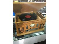 Radio cd with turntable record player